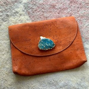 Cork Clutch with Turquoise Hardware